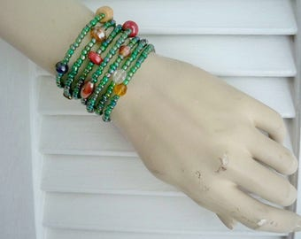 Seed Bead Wrap Bracelet - Green iridescent & large multi color beads - Boho chic - Bohemian cuff - Memory Wire - bycat