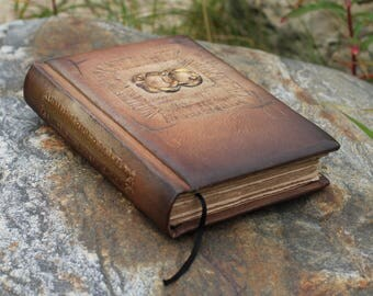 Rustic leather journal wedding guest book two rings anniversary gift