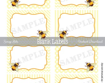 Instant Download . Printable Bumble Bee Labels, Printable Blank Favor Tags, Bee Food Labels, Watercolor Bee Food Labels