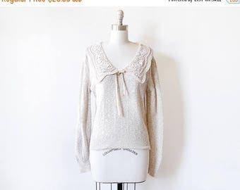 20% OFF SALE vintage lace collar sweater, 80s oatmeal sweater, boho pullover knit sweater, medium/ml