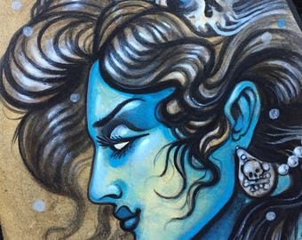 Kali - blue goddess original oil painting
