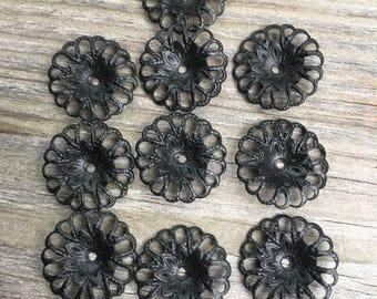 8  filigree metal flower findings black