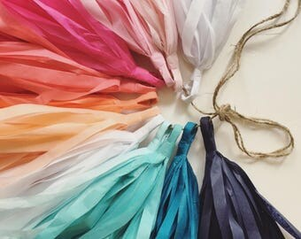 SUNSET and SEA tassel garland / tissue paper party decorations / pink quinceanera decor / blue ombre wedding / 30th birthday party