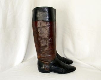 Sz 6b Vintage Sesto Meucci Florence black and brown leather croc embossed tall flat riding boots.