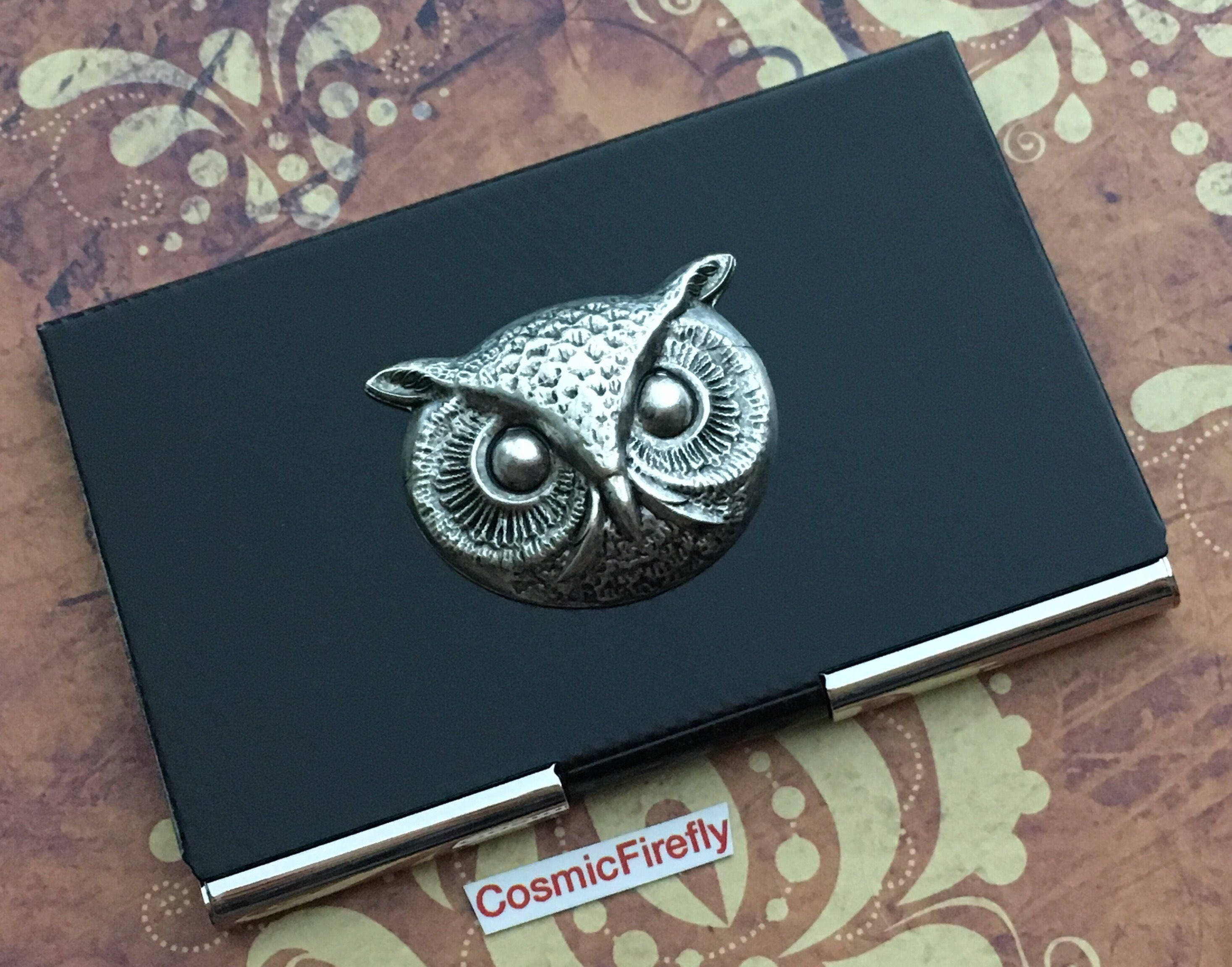 Owl Business Card Case Silver & Black Carbon Fiber Style Industrial ...