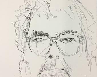 "Original Self Portrait Drawing . ""Happy,""  7x10in."