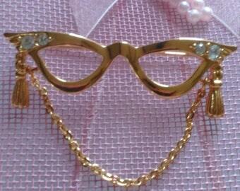 Avon Brooch Pin - Cat's Eye Glasses - Chain Dangle - Rhinestones - Gold Tone