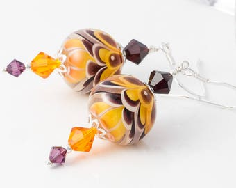 Amber Lampwork Earrings