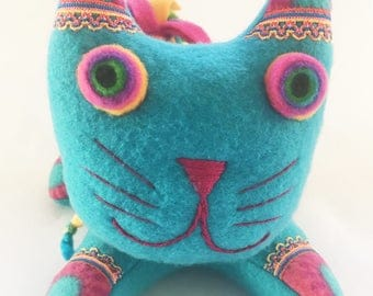Ceramic Teal Cat Ornament Turquoise Animal Pottery Smily Face