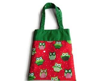 Christmas Owl Gift Bag - Goodie Bag - Mini Tote