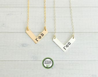 Gamma Phi Beta Necklace - Gamma Phi Beta Jewelry - Gamma Phi - Sorority Chevron Necklace - Sorority Jewelry - Sorority Necklace