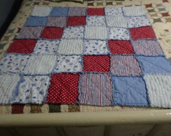 Baby Boy/Little Pilot Airplane/Vintage White Chenille/ Stroller Blanket/Crib Quilt/Carseat Cover Rag Quilt