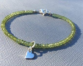Peridot Layering Bracelet- Heart Chakra- Gemstone Bracelet-Minimalist- August Birthstone