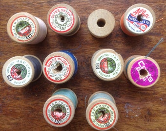 Vintage Wooden Thread Spools, Colourful, Coats Thread, Alba Thread, Orange, Blues, Pink, Neutrals