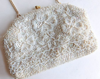 Vintage Richere White Beaded and Sequined Evening Bag Handmade In Hong Kong - Gold Chain Handle - Satin Lining - Floral- Mid-Century 1950s
