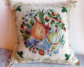 Vintage Petit Point / Needlepoint Pillow Cover - Vegetables & Flowers on Cream Background - Velvet Back - Braided Trim - Ready to Stuff