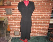"Vintage 1940s Black Rayon Dress with ""Original Franklin Fashions Salon Chicago"" Designer Label"