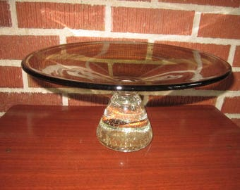 Vintage Signed Erickson Mid Century Modern Art Glass Large Smoke Charcoal Compote with Clear Controlled Bubbles Base