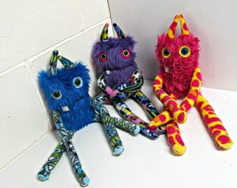 Monster Plush - OOAK Handmade Plush Monster Toy - Hand Embroidered Plush Monster - Faux Fur Monsters - Cute Weird Plush Toy - OOAK Plush Toy