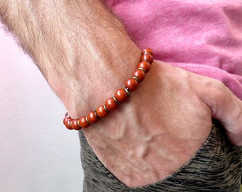 Men's bracelet, boy bracelet, red pearls, gift idea, red bracelet, stone bracelet, for him, minimal,