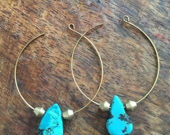 Turquoise & Brass hoop earrings    Brass   Turquoise   Boho style   Handmade earrings