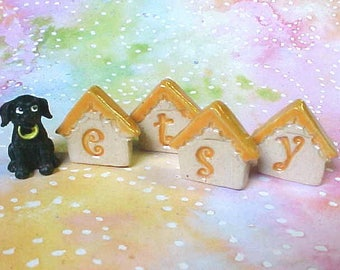 Tiny Clay Tiles | Pottery Letters | Little House Tiles | Mosaic Tiles | Made to Order | Choose Your Quantity and Colors