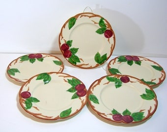 "Franciscan Apple Luncheon Plates, 8"" diameter, Set of Five"