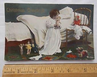 Vintage 1913 Postcard Little Girl Kissing Her Doll + Christmas Toys