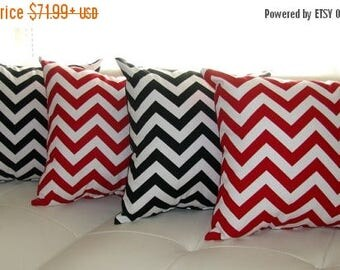 Chevron Throw Pillow  - Zig Zag Chevron Lipstick Red and Zig Zag Chevron Black Decorative Throw Pillows - 4 Pack -- Free Shipping