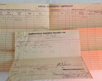 Rare 1913 Rail Ephemera Minneapolis Eastern Railway and Northern Pacific RR Local Switching Abstract Form and Invoice