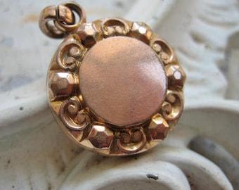 Antique Victorian pendant, Antique Victorian fob locket, Antique rose gold pendant, Antique closed forever locket, Victorian Faux Locket