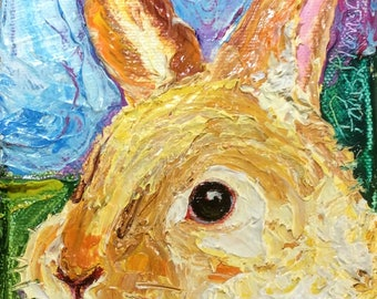 Bunny 4 by 5 Inch Original Impasto Oil Painting by Paris Wyatt Llanso