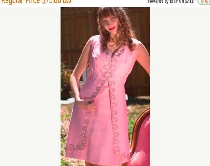 sale Vintage 70s Dress, Pink Dress, Spring Dress, Cocktail Dress, Party Dress, Fancy Dress, Beaded Dress, 1970s Dress, A Line Dress, Summer