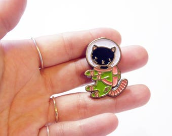 Black and Green Space Kitty enamel pin - for all cat loving adventurers