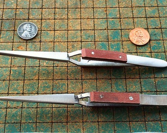 "2 Clamp tweezers, fiber grip, 6 1/2"", blunt serrated tip, 1 straight, 1 curved, jewelers, model makers, hobbyists"