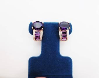 Vintage Amethyst Diamond Earrings 14k Yellow Gold Estate Fine Jewelry Purple Gemstone Birthstone Pierced Drop