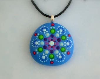 Boho chic-bohemian jewelry-hippie gypsy tribal boho-mandala stones-painted rock-Zen-ooak 3D neon glow-blue teal purple-Yoga jewelry-dot art