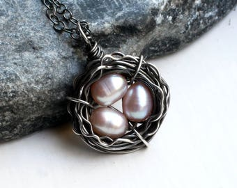 """Bird's Nest Necklace with Freshwater Pearls on Oxidized Sterling Silver - """"Rose Nest"""" by CircesHouse on Etsy"""
