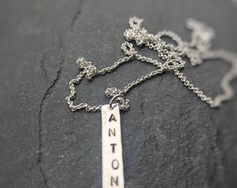 Name tag sterling silver pendant