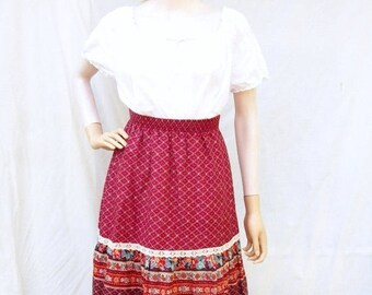 SALE 70s Ruffled Hippie Skirt size Small Burgundy Red Lace Trim