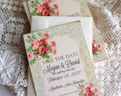 CUSTOM ORDER Deposit for TheFlowerTemple09...Vintage Romantic Wedding Lace and Roses Save the Date Cards by avintageobsession on etsy