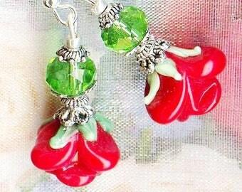 Earrings ♥ love Red Rose OR719 ♥