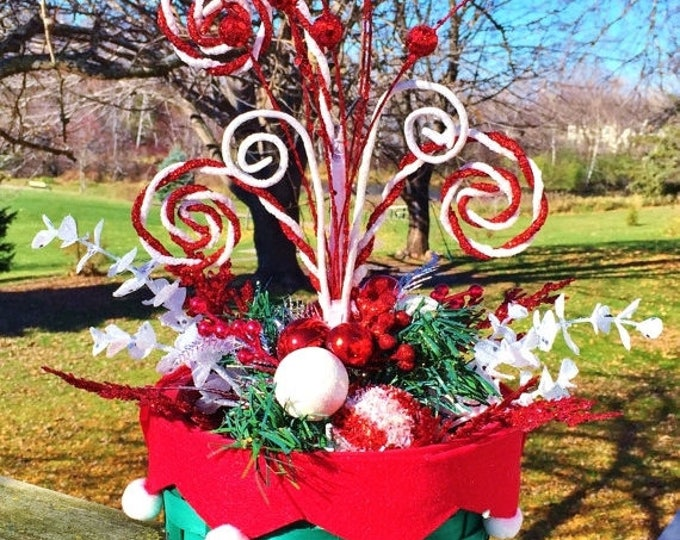 SALE- Santa Basket Candy Canes Greenery - Holiday Christmas Centerpiece Decor