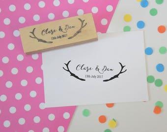Antlers Couple Stamp - favor stamp - personalized - custom wedding stamp - invitation stamp - RSVP