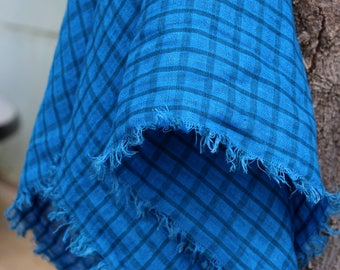 Blue Linen Scarf for Men | Checkered Square Scarf 100% Linen Flax | Natural Shawl Scarves | Gift for Him Brother Husband Dad #EtsyGifts