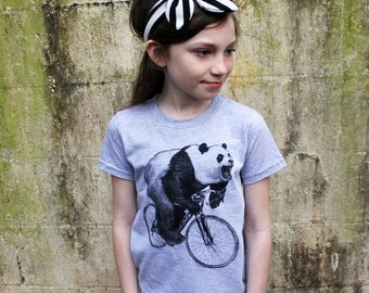 SUMMER SALE Panda on a Bicycle - Kids T Shirt, Children Tee, Tri Blend Tee, Handmade graphic tee, sizes 2-12