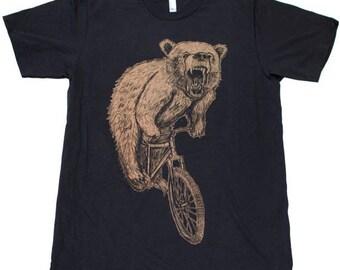 SUMMER SALE Bear on a Mountain Bike - Mens T Shirt, Unisex Tee, Cotton Tee, Handmade graphic tee, Bicycle shirt, Bike Tee, sizes xs-xxl
