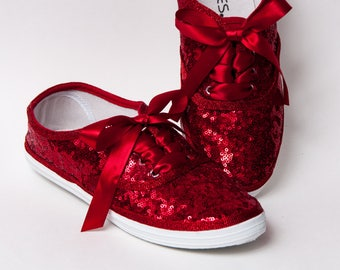 Tiny Sequins - CVO Starlight Red Canvas Sneaker Sparkly Tennis Shoes with Satin Ribbon Shoelaces