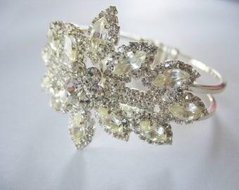 Rhinestone Clamper Bracelet, Stunning, Floral, 1960's, Silver, Sparkling, Bling, Glass, Marquis, Bangle, Elegant, Bride, Wedding, Holiday