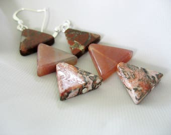Triangle Drop Earrings, Triple Agate Stones, Burgundy, Brown, Rose Pink, Quartz, Jasper, Triangles, Natural Stones, Dangle Earrings